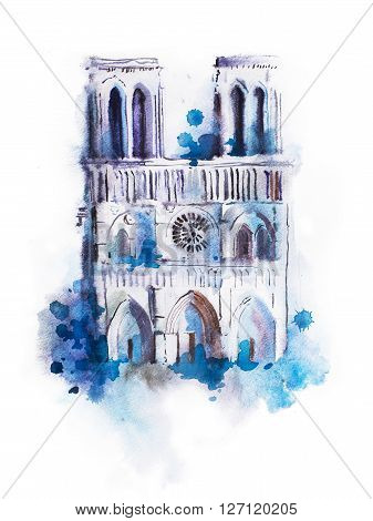 Watercolor drawing of Notre-dame. aquarelle Paris view painting.