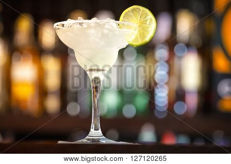 Cocktail Garnished With Lime.