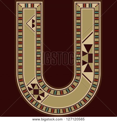 Oriental Wooden Mosaic Decorated Capital Letter U