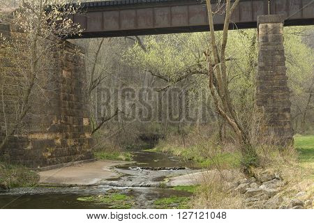 A creek under a railroad bridge during spring.