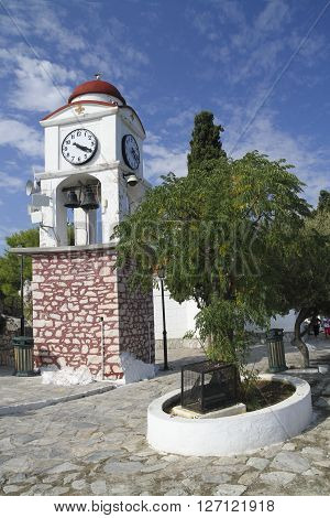 Town clock in greek island Skiathos in Sporades archipelago