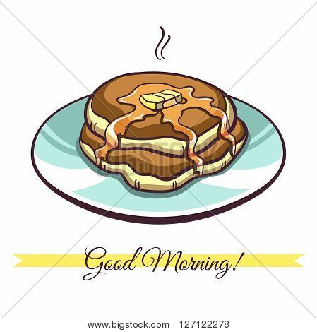 Hand drawn pancakes with butter and syrup on a plate. Pancakes in cartoon style isolated on white background. Vector illustration.