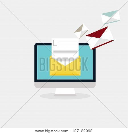 Sending emails and receiving mail. Email advertising direct digital marketing. Flat design style modern vector illustration concept.