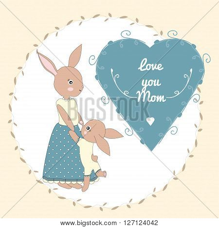 Mother's day greeting card with mother bunny and her bunny baby
