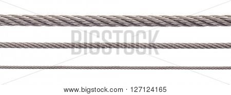 Metal cable on white background