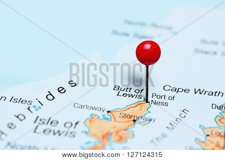 Port of Ness pinned on a map of Scotland