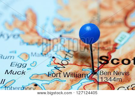 Fort William pinned on a map of Scotland