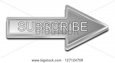 silver Subscribe Arrow Button 3D Illustration on white background