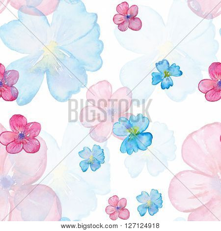 Seamless watercolor pattern with blossom rose. Vintage seamless pattern with rose. Watercolor paint. Feathers pattern for wallpaper design. Watercolor seamless background.
