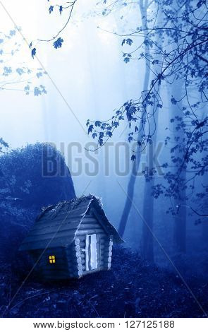 Small wooden house and mysterious landscape of foggy forest