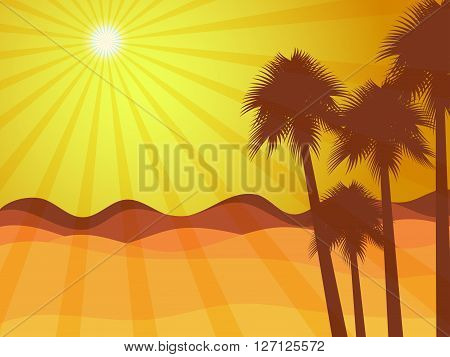 Sunrise In The Desert With Palm Tree. Desert Landscape. Vector Illustration.