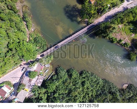 Top View of Wooden Bridge in a Lake