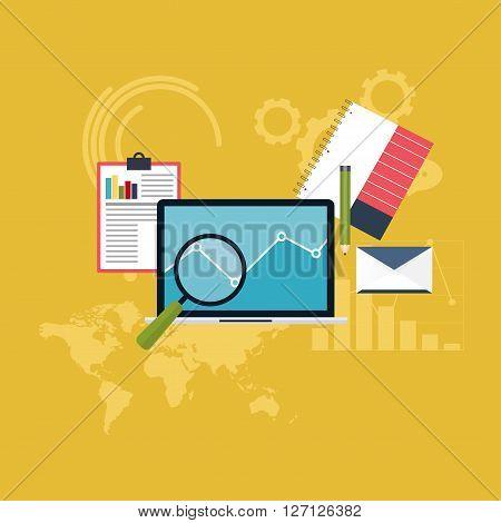 Set Of Web Analytics Information And Development Website Statistic. Flat Icons. Vector Illustration.