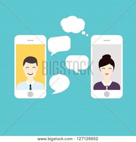 Men And Woman Online Chat. Social Network And Social Media Concept. Business Flat Vector Illustratio