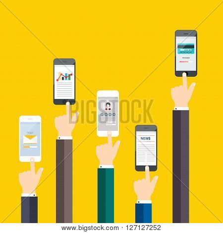 People Holding A Phone. Business Flat Vector Illustration.