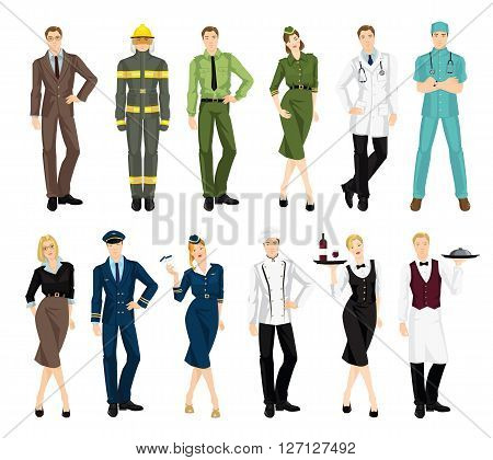 Set of professional people in uniform isolated on white background. Professor, firefighter, military man and woman, doctor, teacher, pilot, stewardess, cook chef, waitress, waiter