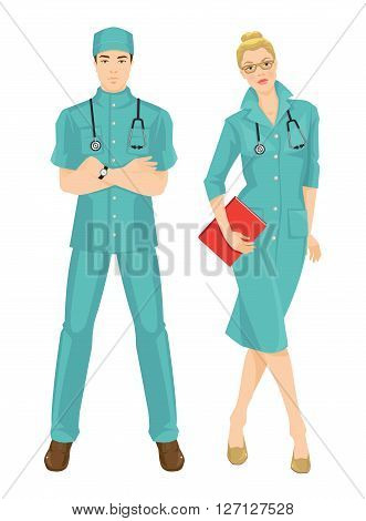 Vector illustration of medical women in medical gown. A young man doctor in medical uniform and hat isolated on white background. Blonde serious girl in glass