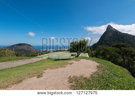 Helipad at the Foot of Corcovado Mountain in Rio de Janeiro, Brazil