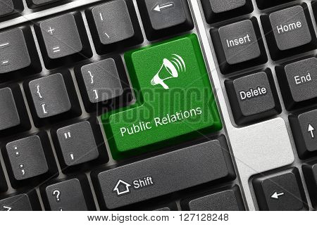 Conceptual Keyboard - Public Relations (green Key With Megaphone Symbol)