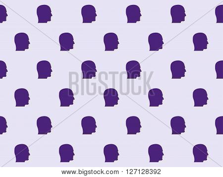Seamless Pattern With Silhouette Of A Person In Profile. Vector.