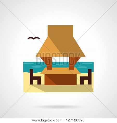 Gazebo on seacoast with table, chairs and bird. Beach architecture. Landscape design. Tropical resort and rest. Flat color style vector icon. Web design element for site, mobile and business.