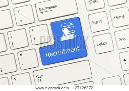 White Conceptual Keyboard - Recruitment (blue Key With Cv Symbol)