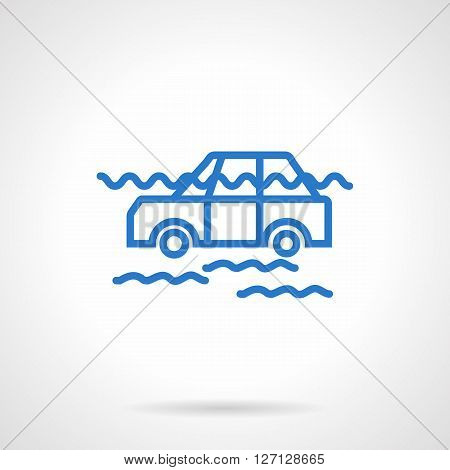 Flooded car floating among the waves. Hazardous natural phenomena, catastrophe. Automobile insurance theme. Simple blue line vector icon. Single element for web design, mobile app.