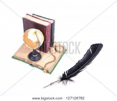 Still life globe with book,pen