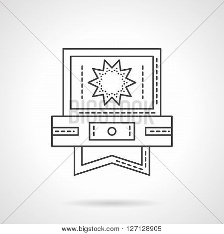 Star shaped sign on computer screen. Video technology. Media player application. Social networks. Flat line style vector icon. Single design element for website, business.