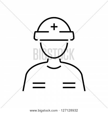 line icon man Rescuers Medical avatar support vector design EPS10.