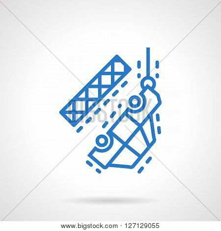 Automobile hanging on towing crane. Car service in accident or breakdown on the road. Car insurance theme. Simple blue line vector icon. Single element for web design, mobile app.