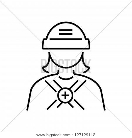 Line Icon Avatar  Design Rescuers, Medical Woman