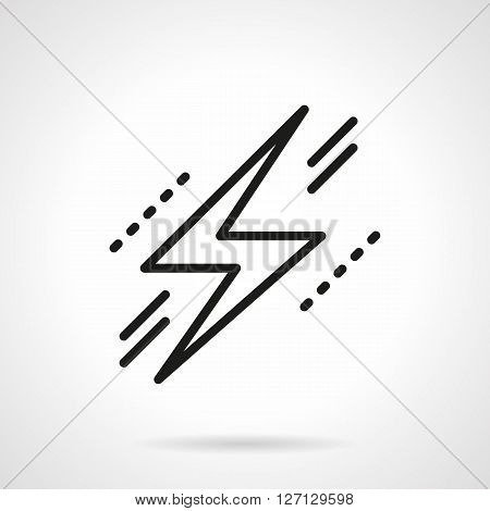 Zigzag sign. Flash of lightning. Warning of dangers in electricity objects. Meteorology element. Simple black line vector icon. Single element for web design, mobile app.