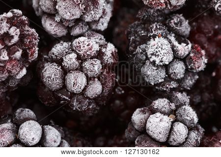 Close up view on frozen Blackberry fruits food background