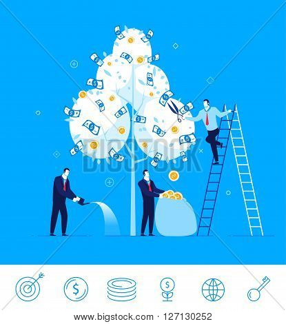 Flat design vector illustration concept of business situation. business team harvest money from the money tree. Vector clipart. Icons set.