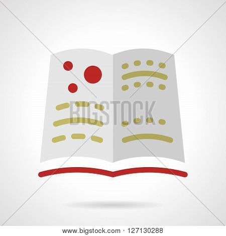 Open textbook of astronomy with red cover. Image of the planets. Learning of space in school. Scientific literature. Flat color style vector icon. Web design element for site, mobile and business.
