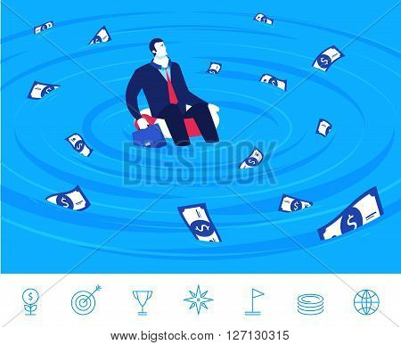 Flat design vector illustration concept of business situation. businessman sitting on a lifebuoy in the sea of money. Vector clipart. Icons set.