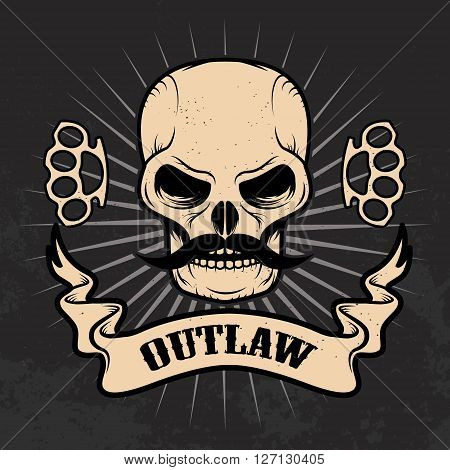 Outlaw. Skull with moustache on grunge background. T-shirt print template.
