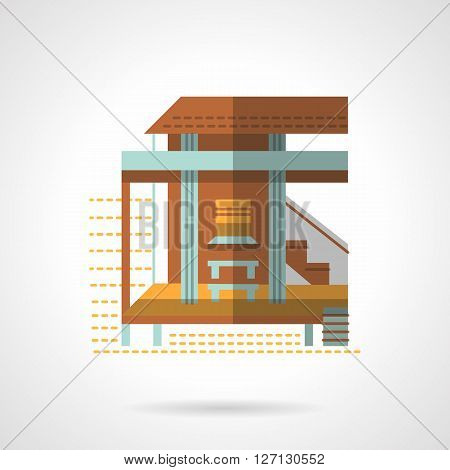 Brown building with a terrace and stairs. Holiday bungalow. Tourism and travel theme. Hotel business. Flat color style vector icon. Web design element for site, mobile and business.