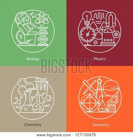Vector set of logos biology, physics, chemistry, geometry. Modern thin line icons. The modern concept of a collection of vectors. Unique design elements for your company. Labels for school, College and University.