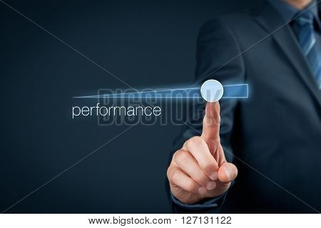Manager (businessman coach leadership) plan to increase company performance.