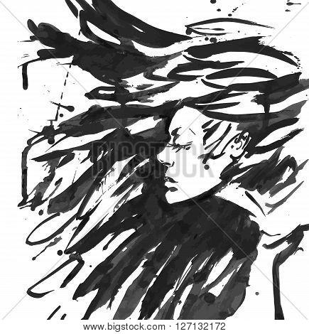 Young goth woman. Dark Queen . Fantasy black hair. Drawn ink
