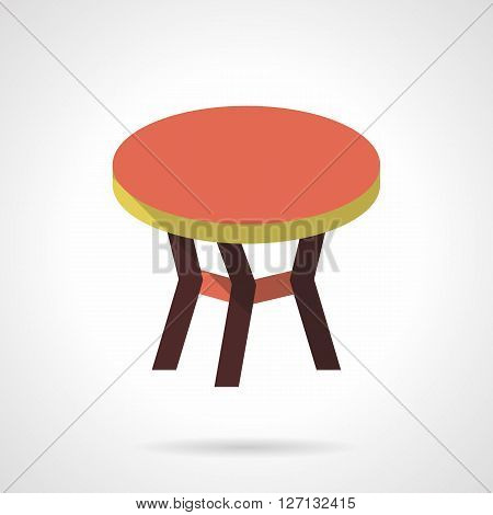 Table with red round top. Coffee table. Furniture for trendy and comfortable interior. Flat color style vector icon. Web design element for site, mobile and business.