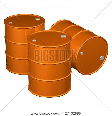 Three orange barrels isolated on white background. 3D rendering.