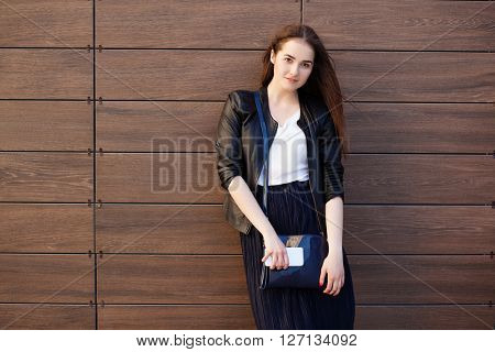 young beautiful happy stylish hipster girl