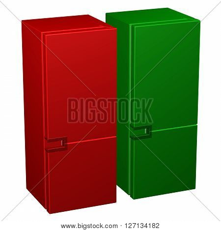 Two refrigerators: red and green isolated on white background. 3D rendering.