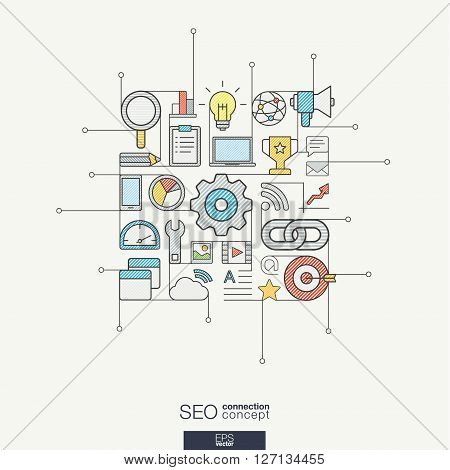SEO integrated thin line symbols. Modern color vector concept, with connected flat design icons. Abstract background illustration for digital network, analytics, social media and market concept