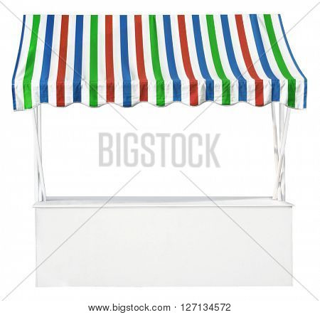 Market stall with colorful striped awning
