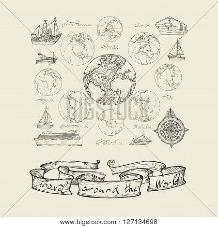 Vector illustration. Maps atlas continents. Black on a white background.
