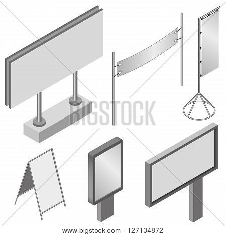 Isometric Billboards. Flat 3d isometric vector illustration billboards and advertise billboards.